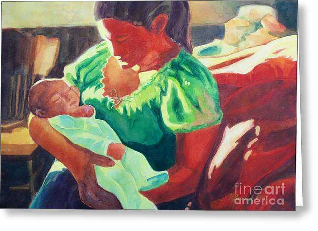 Value Greeting Cards - Mother and Child in Red Greeting Card by Kathy Braud