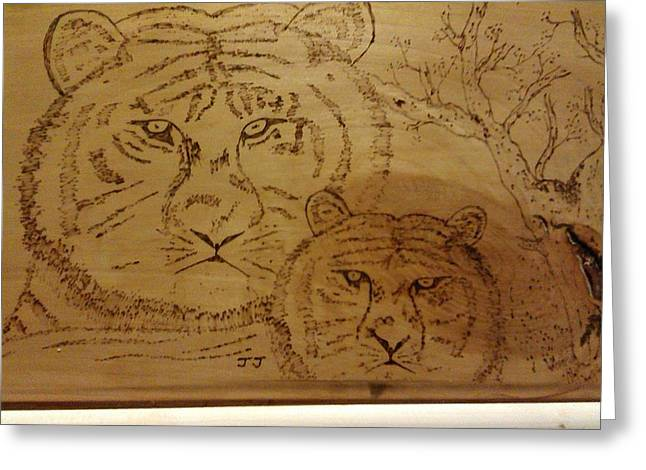 Harmony Pyrography Greeting Cards - Mother and Child Greeting Card by JJ Oosthuizen