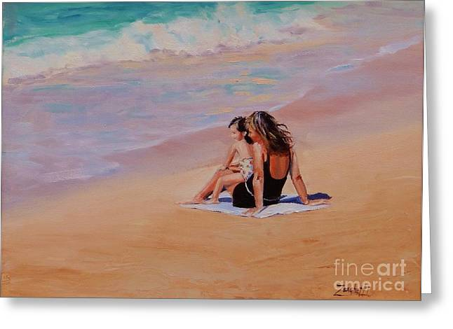 People On Beach Greeting Cards - Mother and Child Greeting Card by Laura Lee Zanghetti
