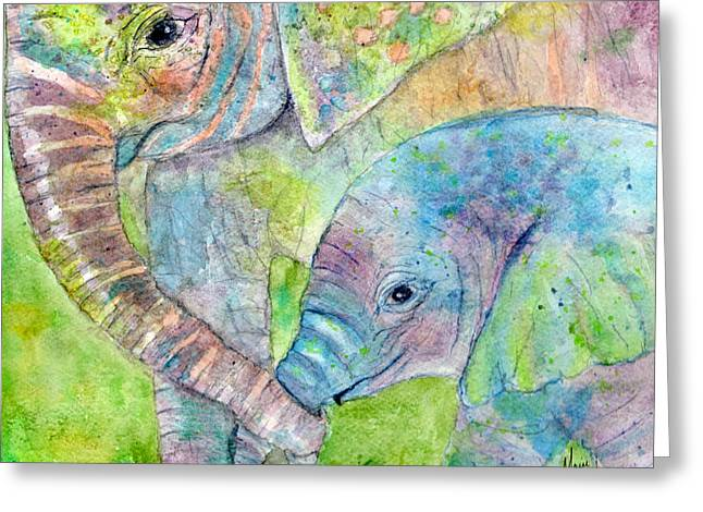 Mom Paintings Greeting Cards - Mother and Child Greeting Card by Marie Stone Van Vuuren