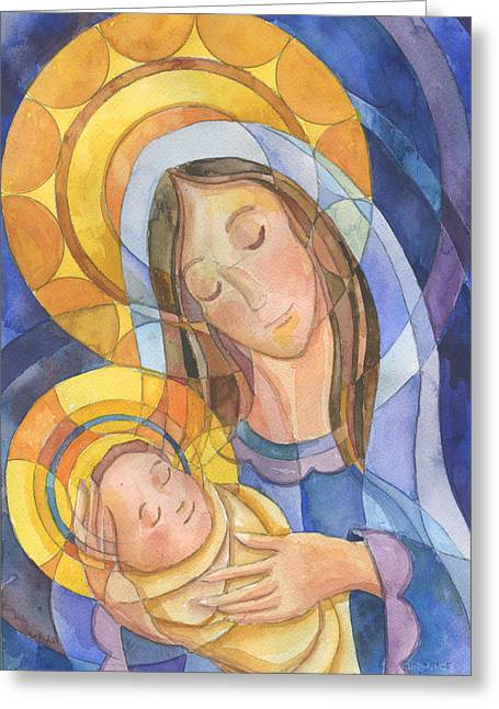 Incarnation Paintings Greeting Cards - Mother And Child Greeting Card by Mark Jennings