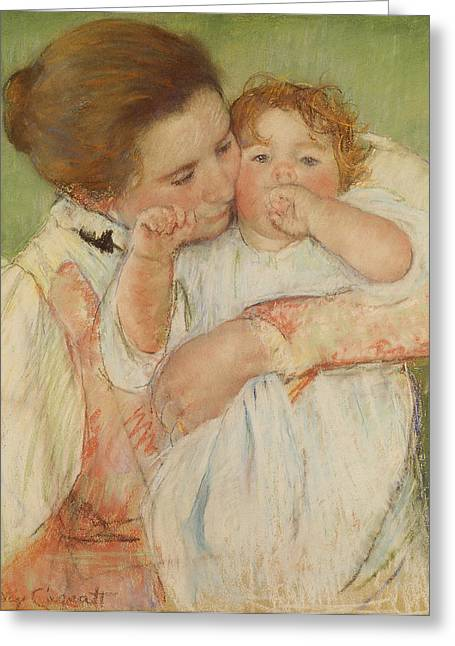 Cassatt Greeting Cards - Mother And Child Greeting Card by Celestial Images
