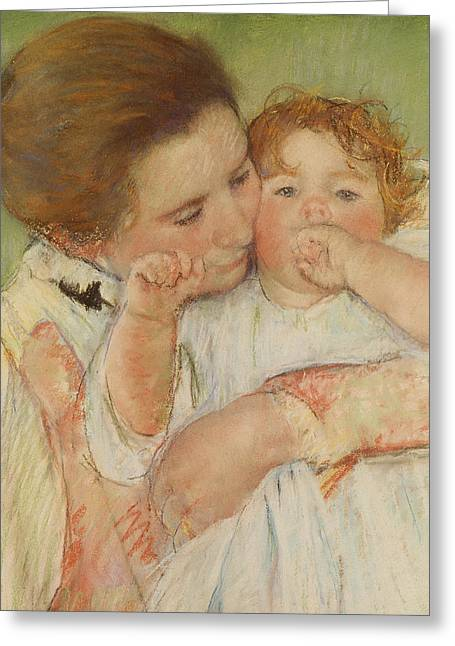 Maternal Greeting Cards - Mother and Child Greeting Card by Mary Stevenson Cassatt