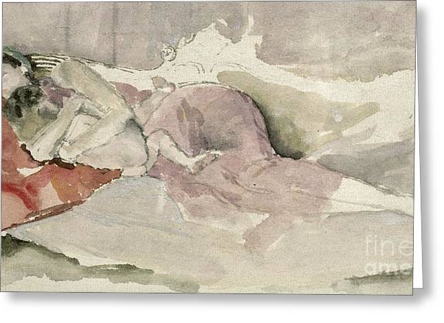Caring Mother Paintings Greeting Cards - Mother and Child on a Couch Greeting Card by James Abbott McNeill Whistler