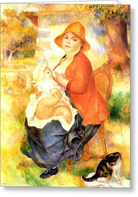 Renoir Digital Greeting Cards - Mother And Child Greeting Card by Pierre-Auguste Renoir