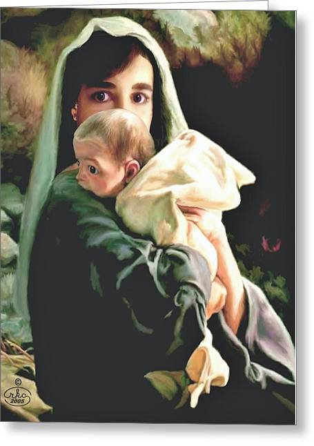 Star Of Bethlehem Paintings Greeting Cards - Mother and Child Greeting Card by Ronald Chambers