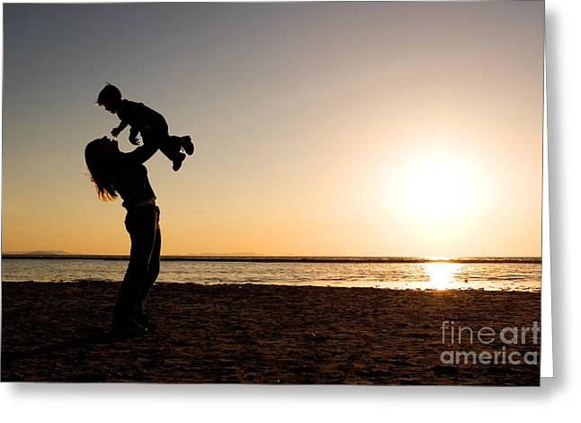 Silhouette Greeting Cards - Mother and Child Silhouette Greeting Card by Cindy Singleton