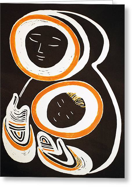 Linocut Reliefs Greeting Cards - Mother and Child Greeting Card by Vadim Vaskovsky