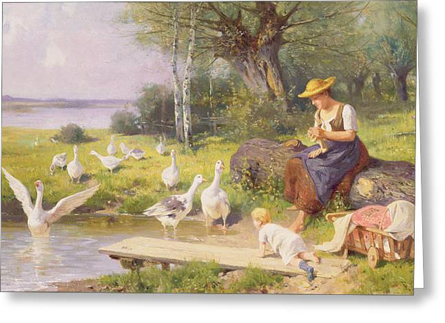 Mother And Child With Geese Greeting Card by Adolf Ernst Meissner