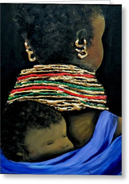 Ethnical Greeting Cards - Mother and Child2 Greeting Card by Marietjie Henning