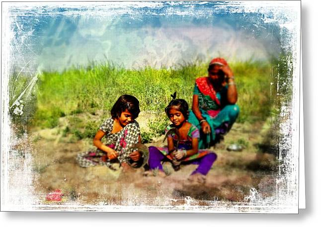 Farmers Field Greeting Cards - Mother and Children Harvest India Rajasthan Greeting Card by Sue Jacobi