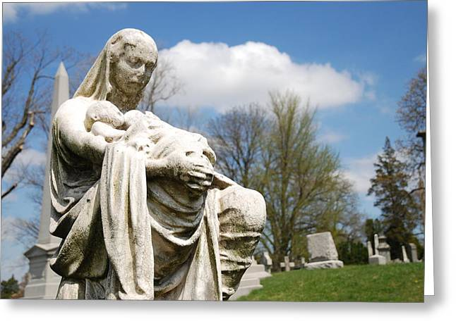 Macabre Greeting Cards - Mother and Children Greeting Card by Jennifer Lyon