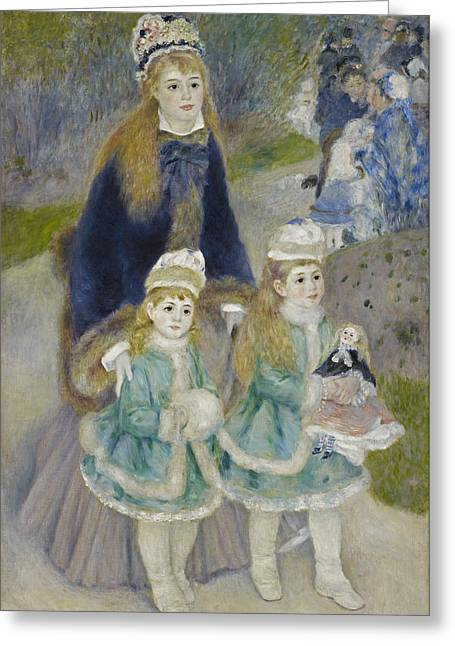 1874 Greeting Cards - Mother and Children. La Promenade Greeting Card by Pierre-Auguste Renoir