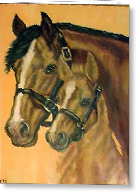 Pat Mchale Greeting Cards - Mother And Colt Greeting Card by Pat Mchale