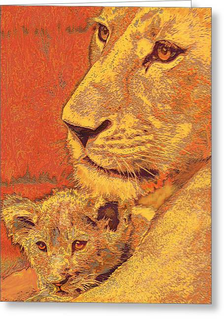 Lion Greeting Cards - Mother And Cub Greeting Card by Jane Schnetlage