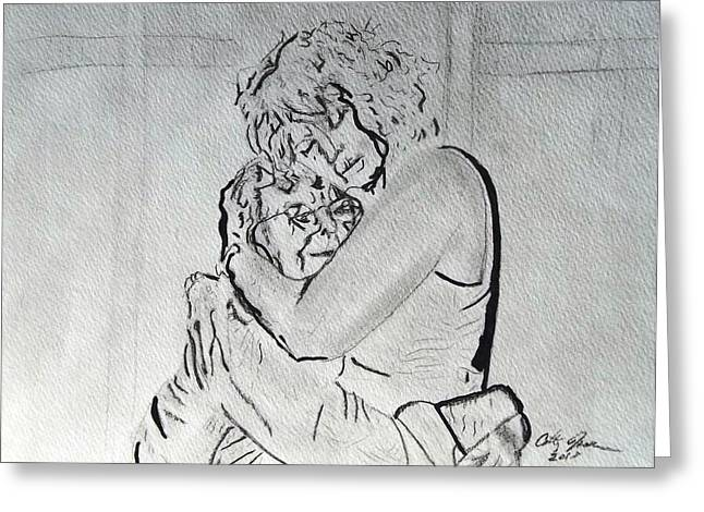 Consoling Drawings Greeting Cards - Mother and Daughter Greeting Card by Cathy Jourdan