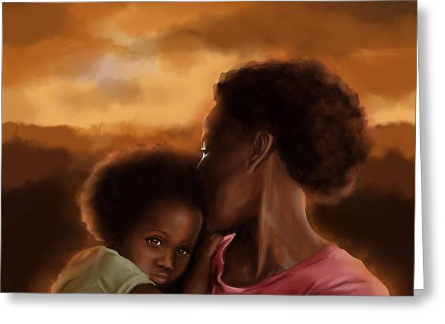 Black Woman Praying Greeting Cards - Mother and Daughter in Africa Greeting Card by Josh Kennedy