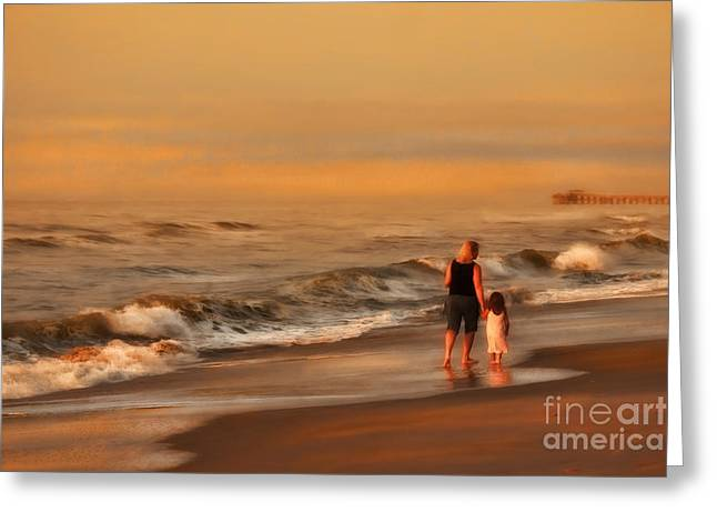 On The Beach Greeting Cards - Mother and Daughter Greeting Card by Jeff Breiman