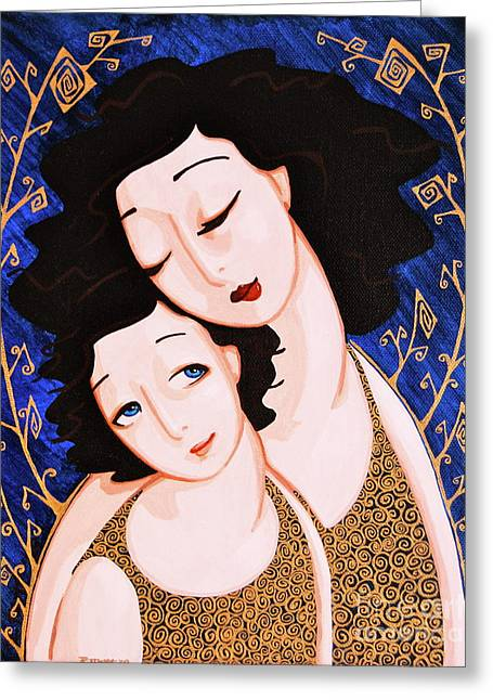 Mother And Daughter Greeting Card by Rebecca Mott