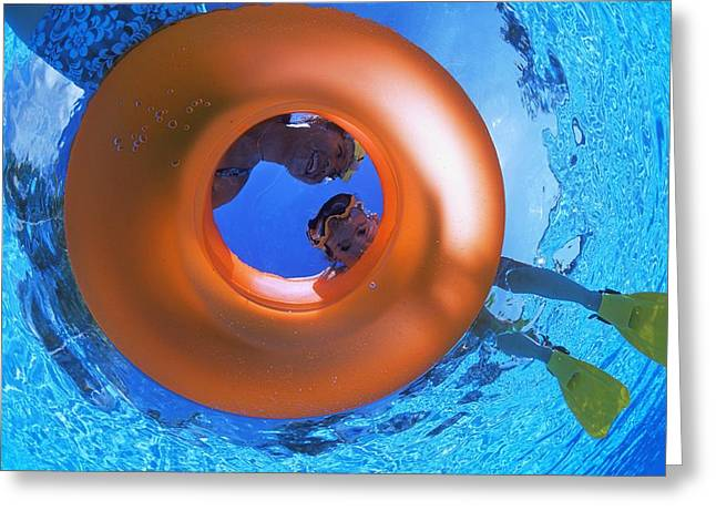 Recreational Pool Greeting Cards - Mother And Daughter Snorkeling Greeting Card by Carson Ganci