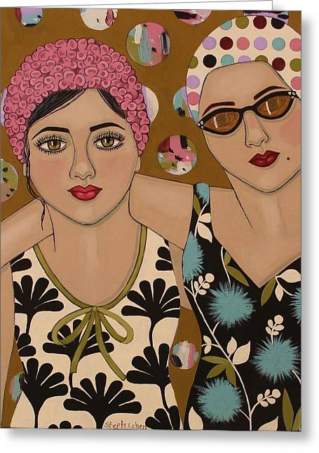 Vintage Painter Greeting Cards - Mother and Daughter Greeting Card by Stephanie Cohen