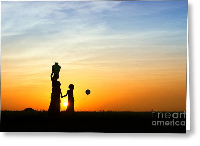 Indian Woman Greeting Cards - Mother and Daughter Greeting Card by Tim Gainey