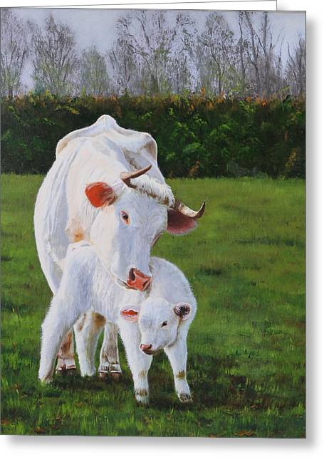 Lepercq Veronique Greeting Cards - Mother And Her Calf Greeting Card by Lepercq Veronique