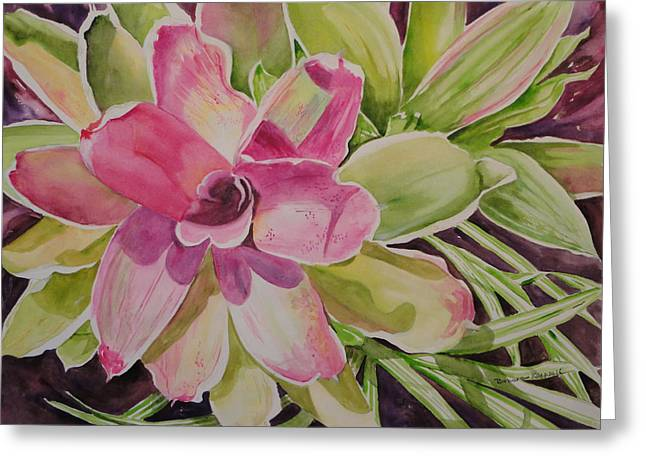 Bromeliad Paintings Greeting Cards - Mother and Pup Greeting Card by Barbara Koepsell