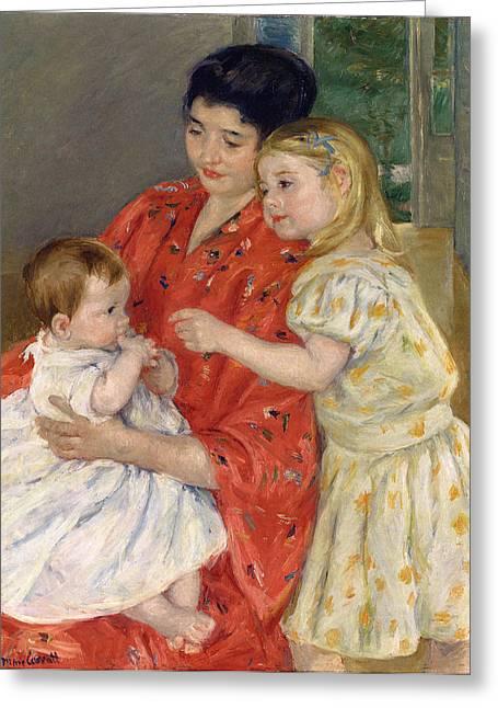 Cassatt Digital Greeting Cards - Mother And Sara Admiring The Baby Greeting Card by Marry Cassatt