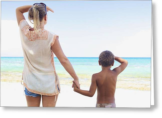 Holden Beach Greeting Cards - Mother and Son at Beach Greeting Card by Kicka Witte