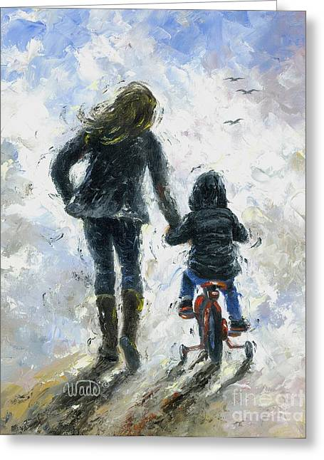 Big Sister Greeting Cards - Mother and Son First Bike Ride Greeting Card by Vickie Wade