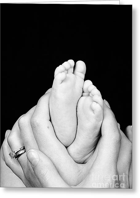 Parenthood Greeting Cards - Mother and son hands and feet Greeting Card by Jane Rix