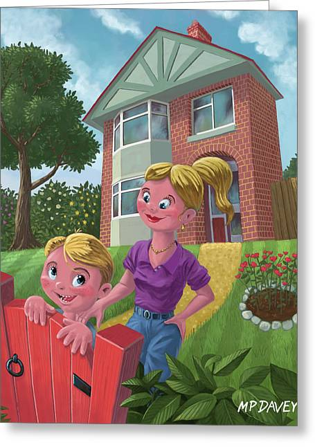 House With Gate Greeting Cards - Mother And Son In Garden Greeting Card by Martin Davey