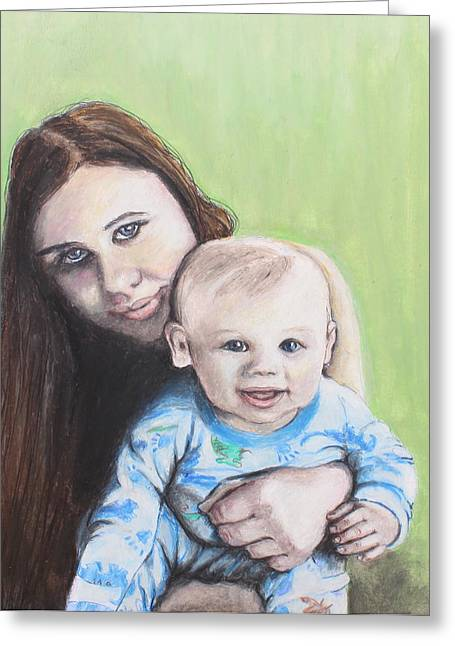 Adult Pastels Greeting Cards - Mother and Son Greeting Card by Jeanne Fischer