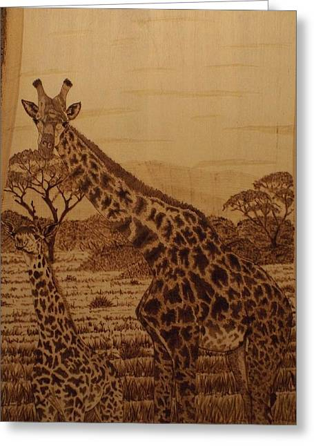 Woodburnings Pyrography Greeting Cards - Mother and Son Greeting Card by Jim Nutting