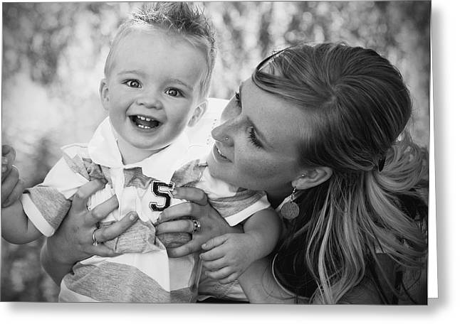 Adult And Child Greeting Cards - Mother And Son Laughing Together Greeting Card by Daniel Sicolo