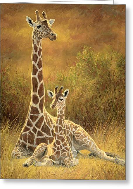 Mother And Son Greeting Card by Lucie Bilodeau