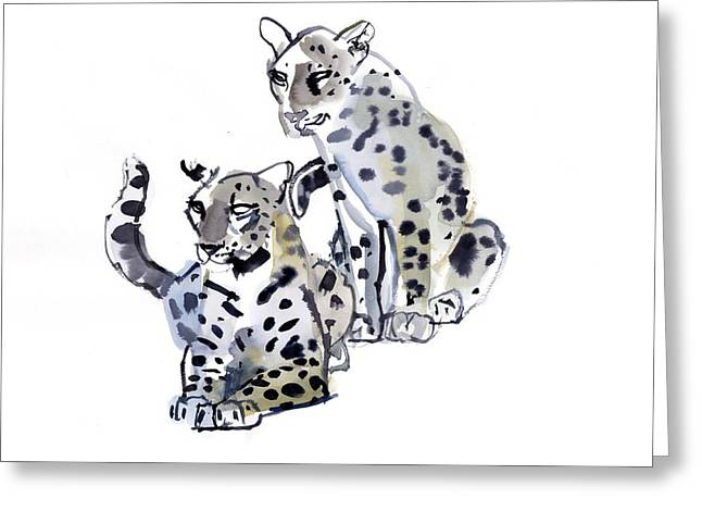 Leopard Cat Greeting Cards - Mother and Son Greeting Card by Mark Adlington