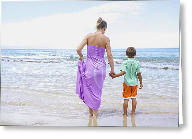 Holden Beach Greeting Cards - Mother and Son on Beach Greeting Card by Kicka Witte