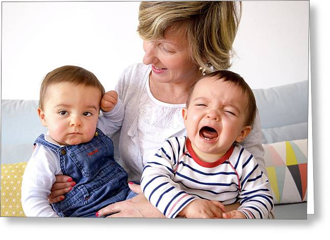 Mother And Twin Baby Sons Greeting Card by Aj Photo