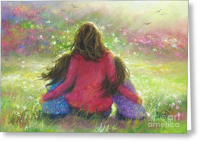 Vickie Wade Paintings Greeting Cards - Mother and Twin Girls in Garden Greeting Card by Vickie Wade