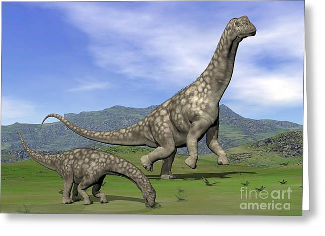 Caring Mother Digital Greeting Cards - Mother Argentinosaurus Dinosaur Greeting Card by Elena Duvernay
