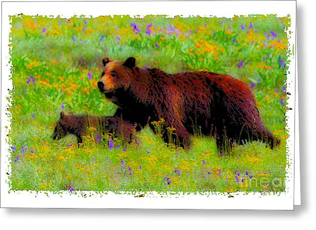 Beautiful Scenery Greeting Cards - Mother Bear And Cub In Meadow Greeting Card by Jerry Cowart