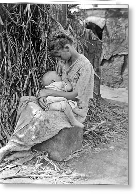 Mother Breast Feeding A Baby Greeting Card by Underwood Archives