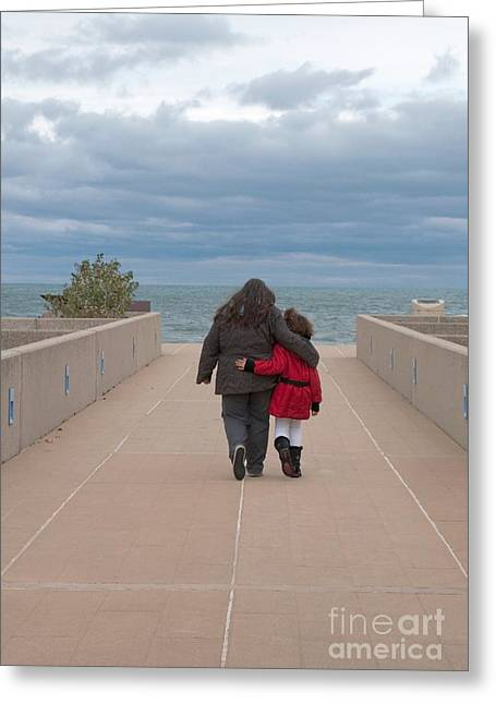 Indiana Dunes Greeting Cards - Mother Daughter Moment Greeting Card by Ann Horn