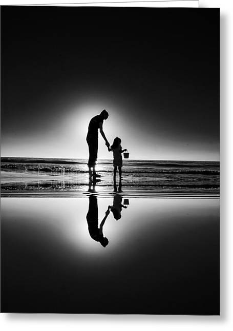 Commercial Photography Greeting Cards - Mother Daughter Silhouette Greeting Card by Kevin Cable