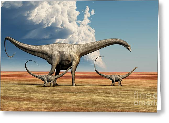 Diplodocus Digital Greeting Cards - Mother Dinosaur Greeting Card by Corey Ford