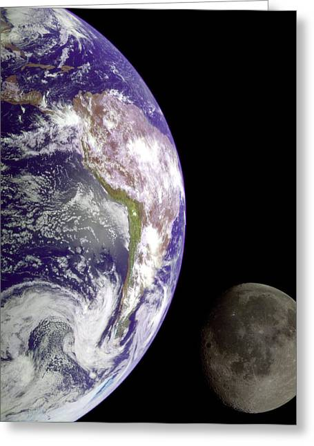 Mother Earth Greeting Cards - Mother Earth and Her Moon Greeting Card by Nasa Usgs