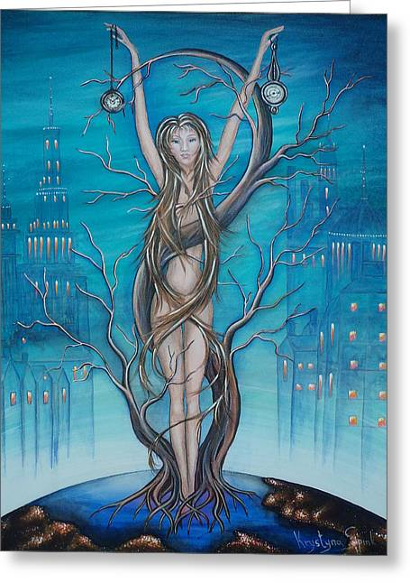 Polution Greeting Cards - Mother Earth Greeting Card by Krystyna Spink