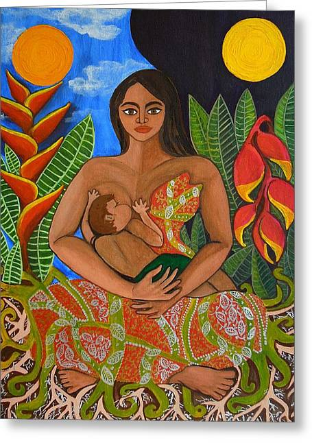 Yang Greeting Cards - Mother Earth - Nourish  Greeting Card by Jennifer Mourin